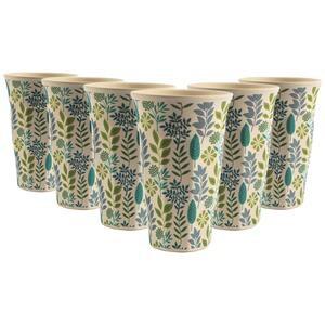 Set of 6 Bamboo Beakers Leaf Design