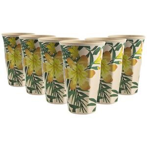 Set of 6 Bamboo Beakers Tropical Design