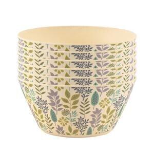 Set of 6 Bamboo Bowls Leaf Design