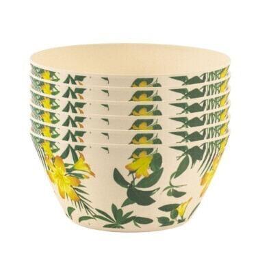 Set of 6 Bamboo Bowls Tropical Design