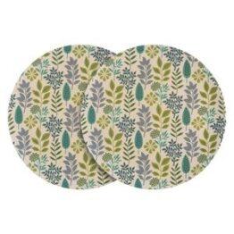 Set of 6 Bamboo Dinner Plates Leaf Design