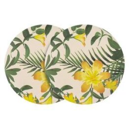 Set of 6 Bamboo Dinner Plates Tropical