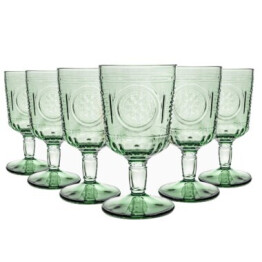 Set of 6 Bormioli Green Wine Glasses