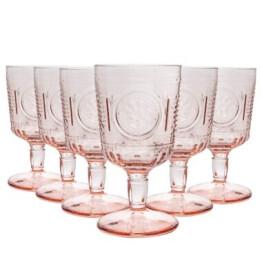 set of 6 pink bormioli wine glasses