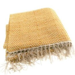 Cotton Rug Throw Mustard