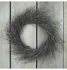 Grey Whitewashed birch wreath