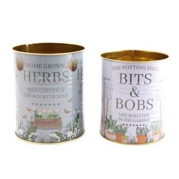 Love Grows Here Set of Tin Planters