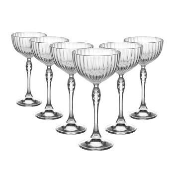 Set of 6 Bormioli Rocco America 1920s Champagne Saucers