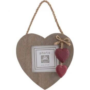 Red Heart Driftwood Photo Frame