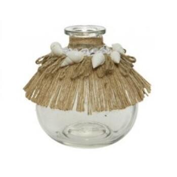 Seagrass and Seashells Bottle Glass Vase