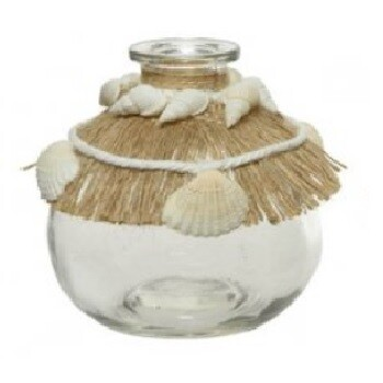 Seashell and Seagrass Glass Bottle Vase