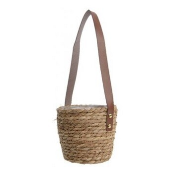 Woven Hanging Basket with Leather Strap