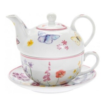 Floral Butterfly Teapot One Cup