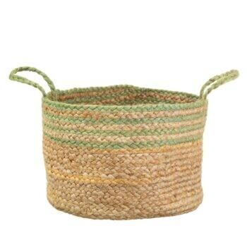 Large Green Stripe Jute Basket