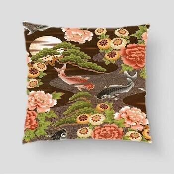 Japanese Koi Carp Cushion Brown