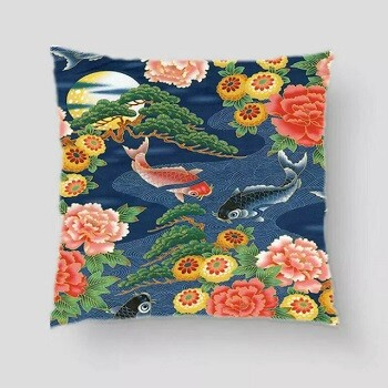 Japanese Koi Carp Cushion Blue