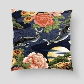 Japanese Koi Carp Cushion Navy Moon