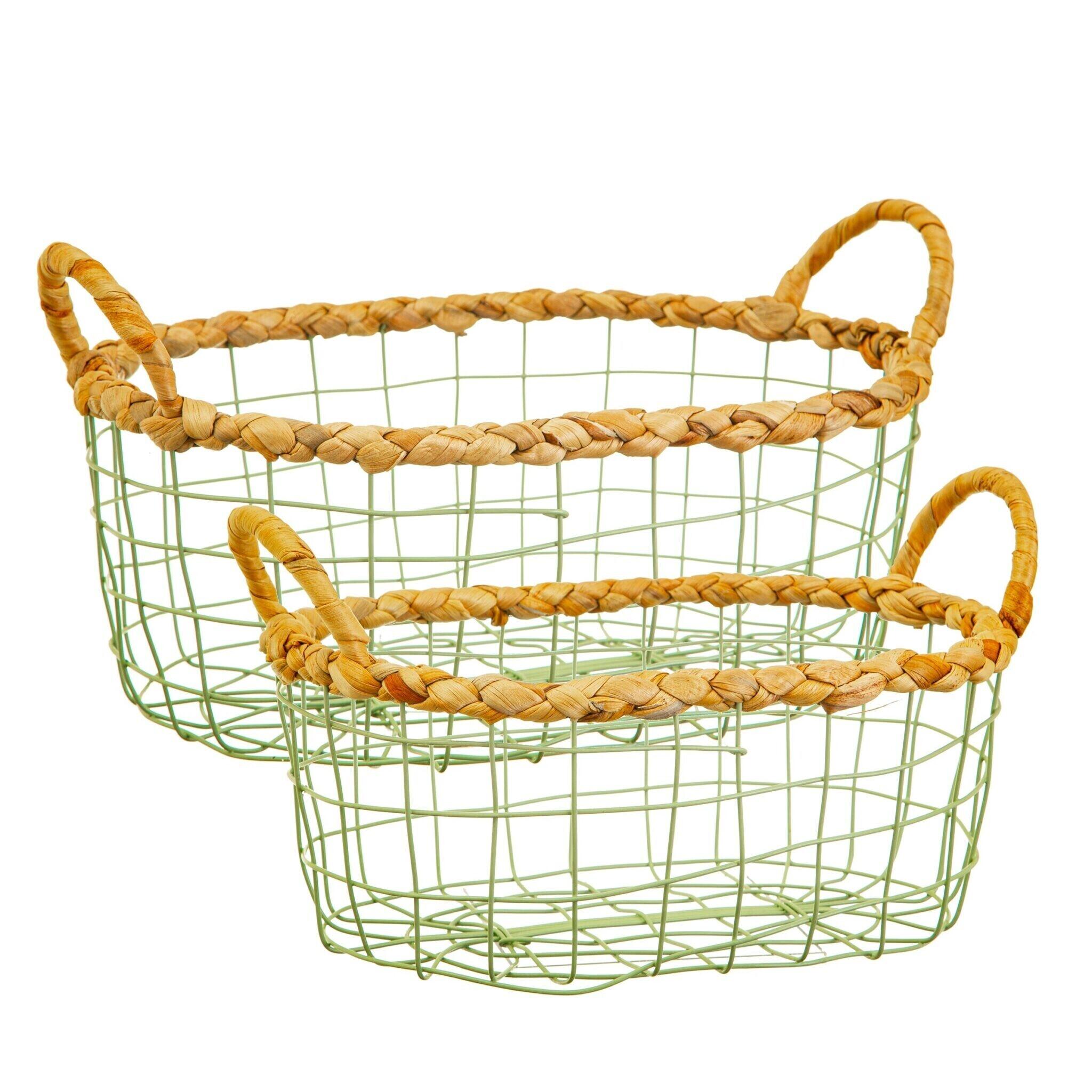 Set of 2 Green Wire Storage Baskets