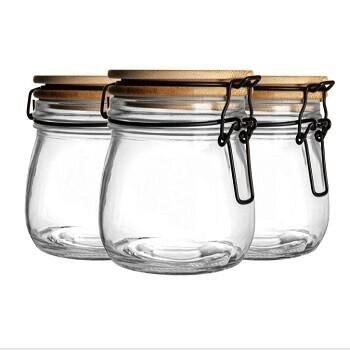 Set of 3 Wooden Lid Clip Jars