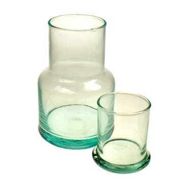 Recycled Glass Carafe with Lid