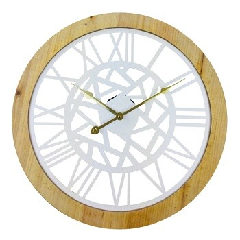 Roman Numeral White Metal Cut Out Wall Clock