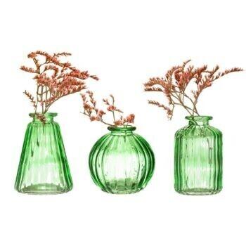 Set of 3 Green Glass Bud Vases
