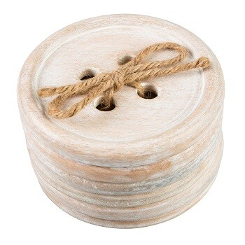 Set of 6 Large Wooden Button Coasters