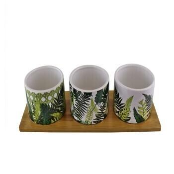 Ceramic Fernology Tealight Holder Set