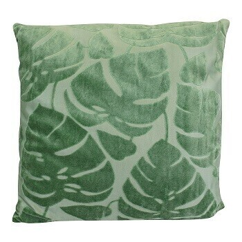 Green Embossed Leaf Cushion