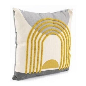 Tufted Grey Mustard Sun Cushion