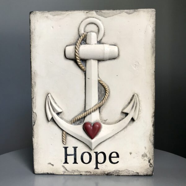 Hope T410 Sid Dickens Memory Block supplied by Hudson Belle, is inscribed saying 'Anchored hearts give strength to hopes and dreams'