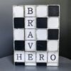"""Brave Hero WP03 Retired Sid Dickens Block that is titled '""""Being a hero doesn't mean you're invincible. It just means that you're brave enough to stand up and do what's needed."""" - Rich Riordan, The Mark of Athena'"""