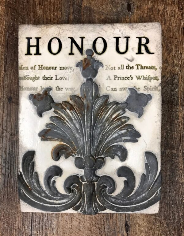 Honour T447 Sid Dickens is an original hand made memory block which states 'Respected and held in the highest esteem; the product of integrity and truth.'