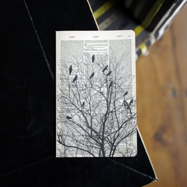 Birds on a Tree Art Notebook is a beautifully printed dictionary page with a unique piece of artwork on top