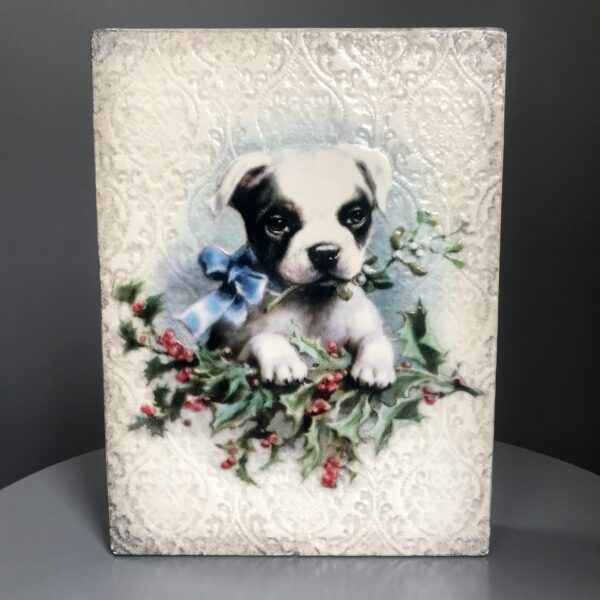 Winters Bliss T496 Sid Dickens is a beautiful tiles design with a dog that reads 'Guide and guard with a loyal heart, Faithful friendship of extraordinary grace.'