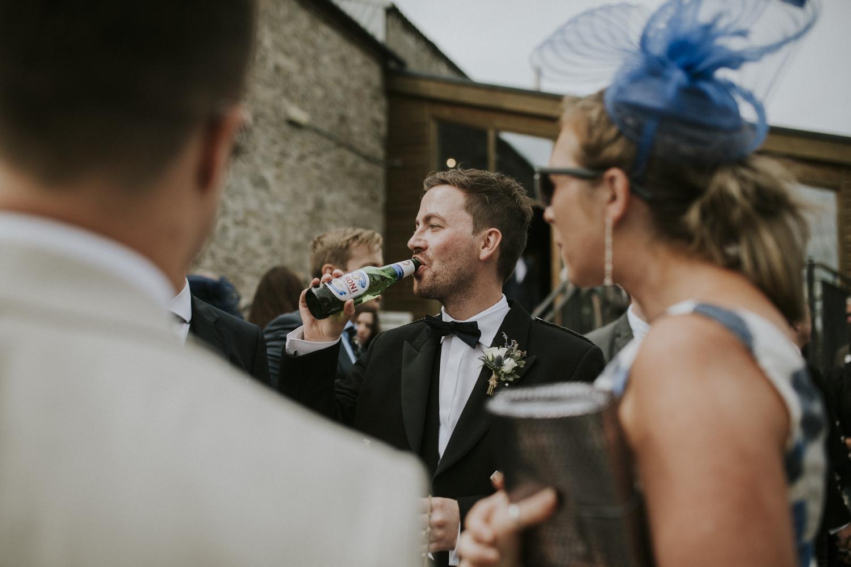 groom drinking