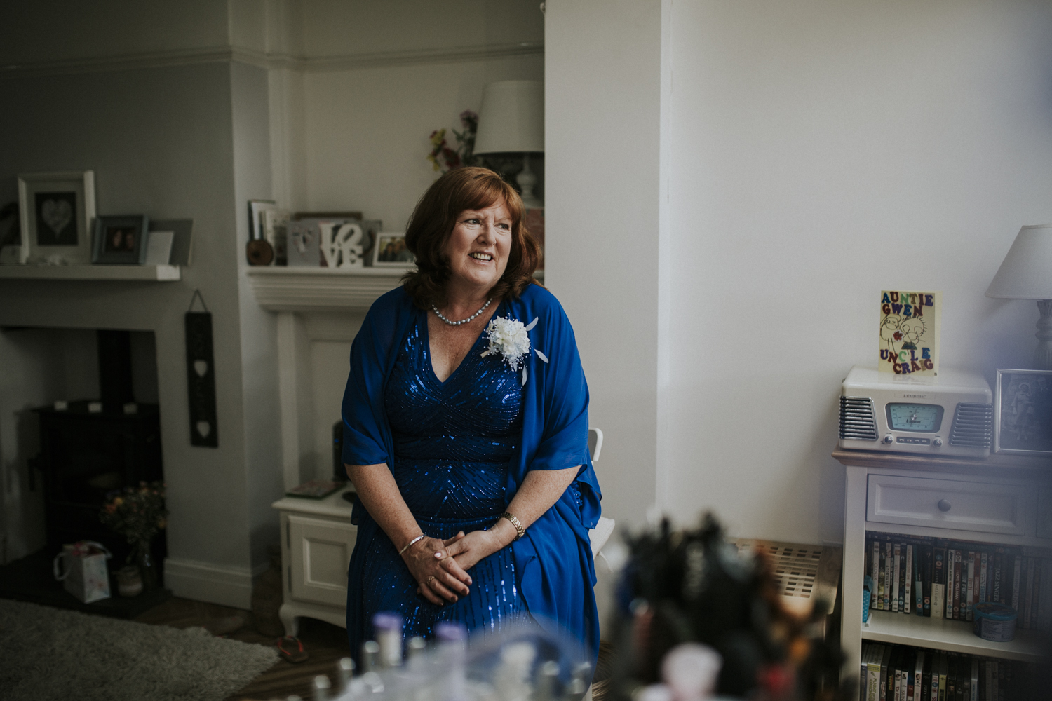 mother smiling at wedding
