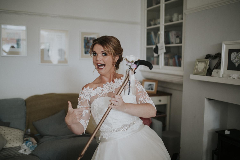 bride with nans walking stick