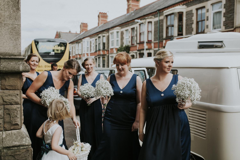 bridesmaids arrived at church