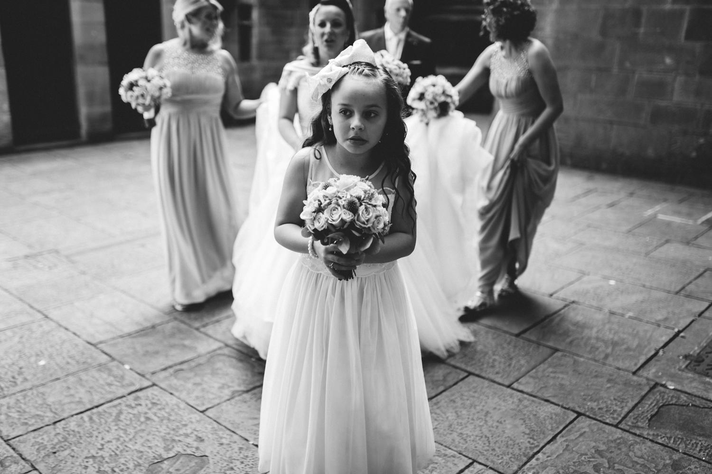 nervous little girl at wedding