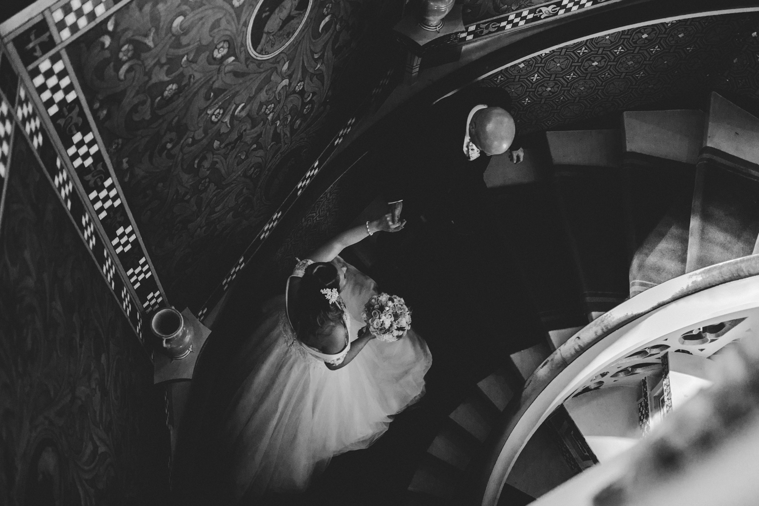 couple on staircase