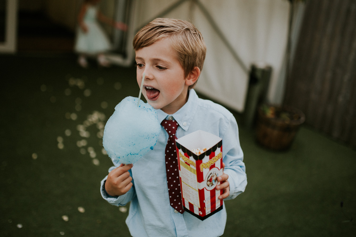 little boy with candy floss