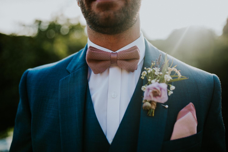 close up of groom details