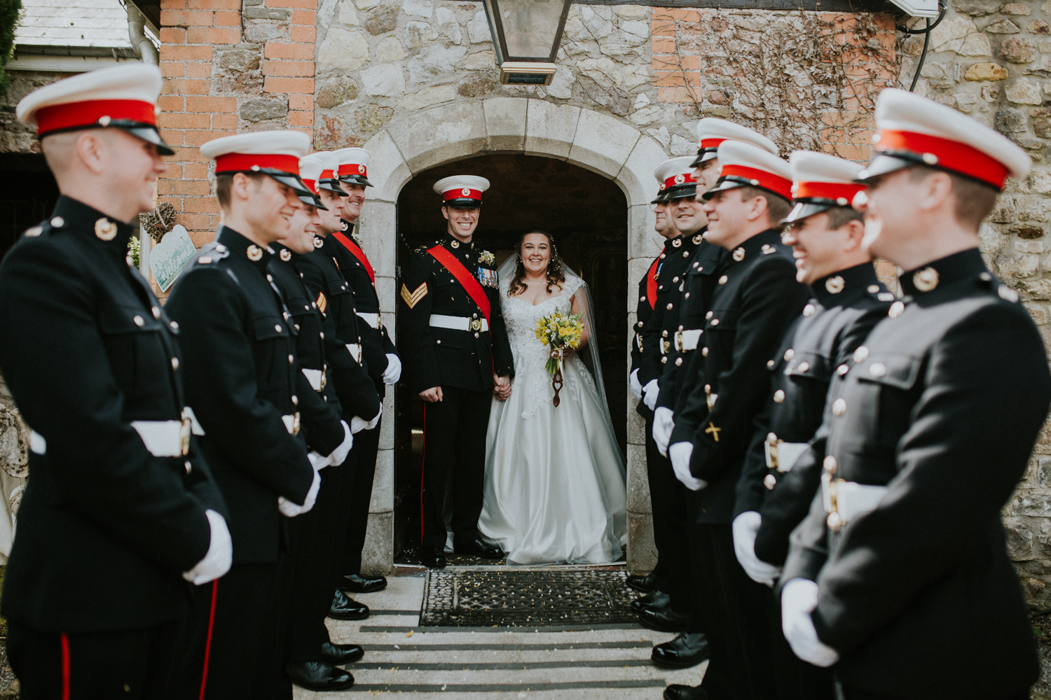 bride and groom and marines
