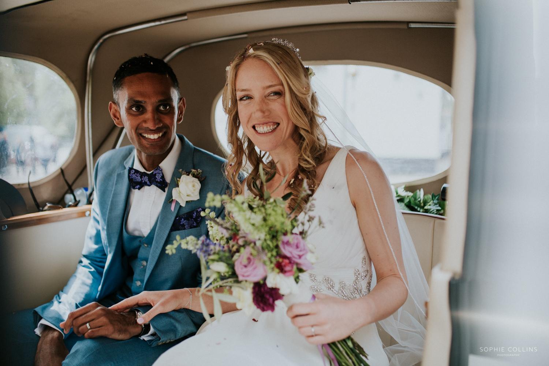 couple in wedding car