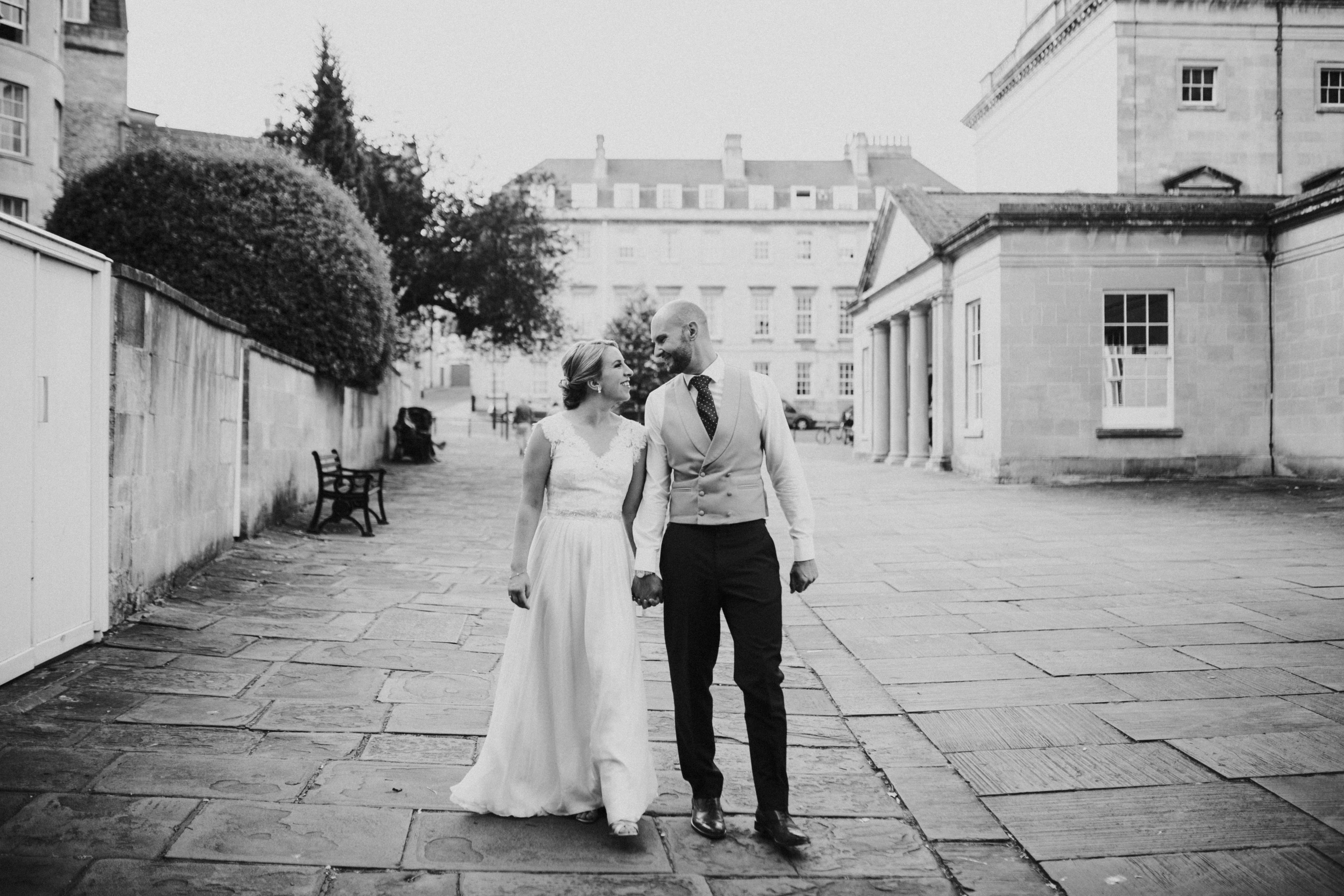 bride and groom in bath centre