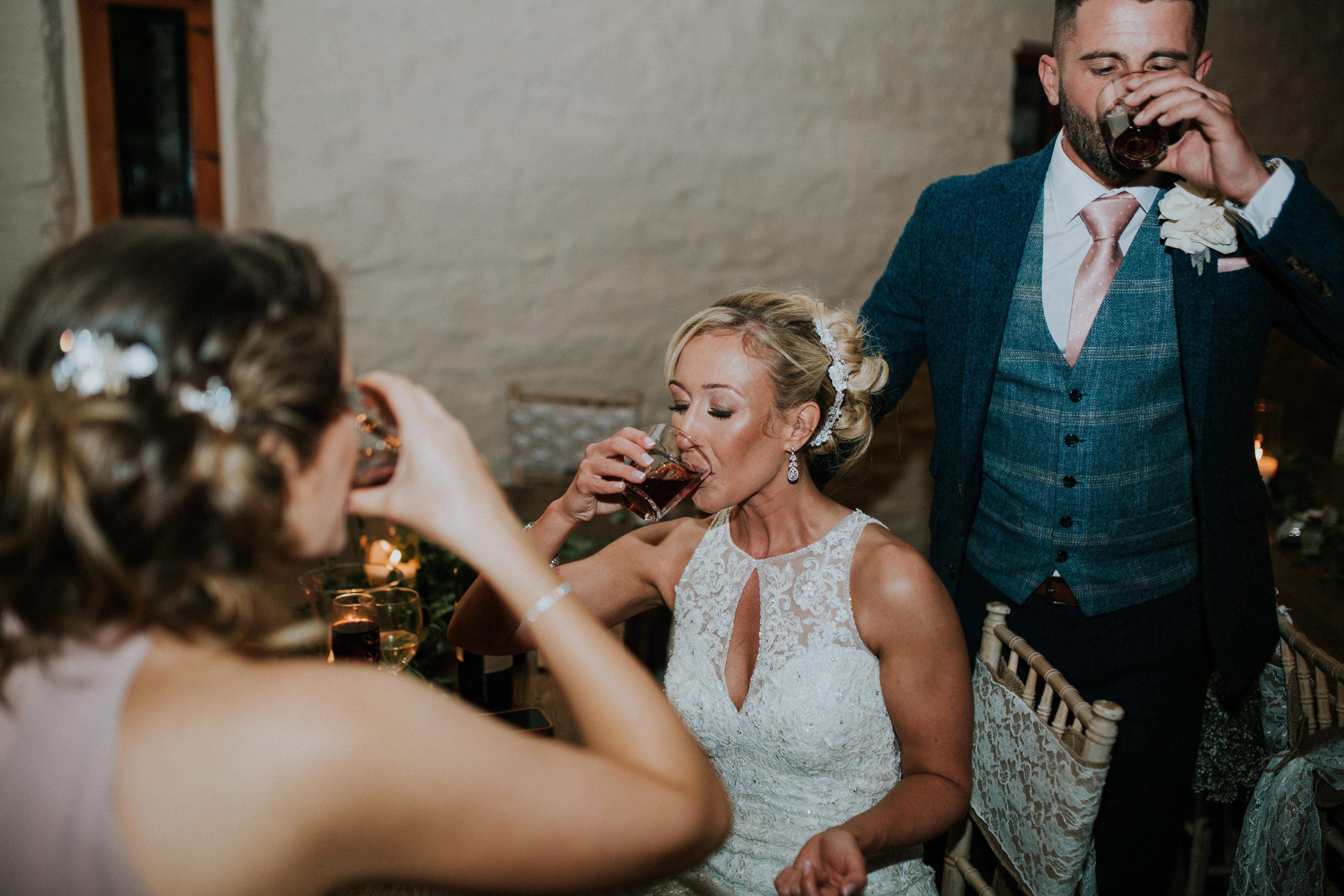 bride doing shots