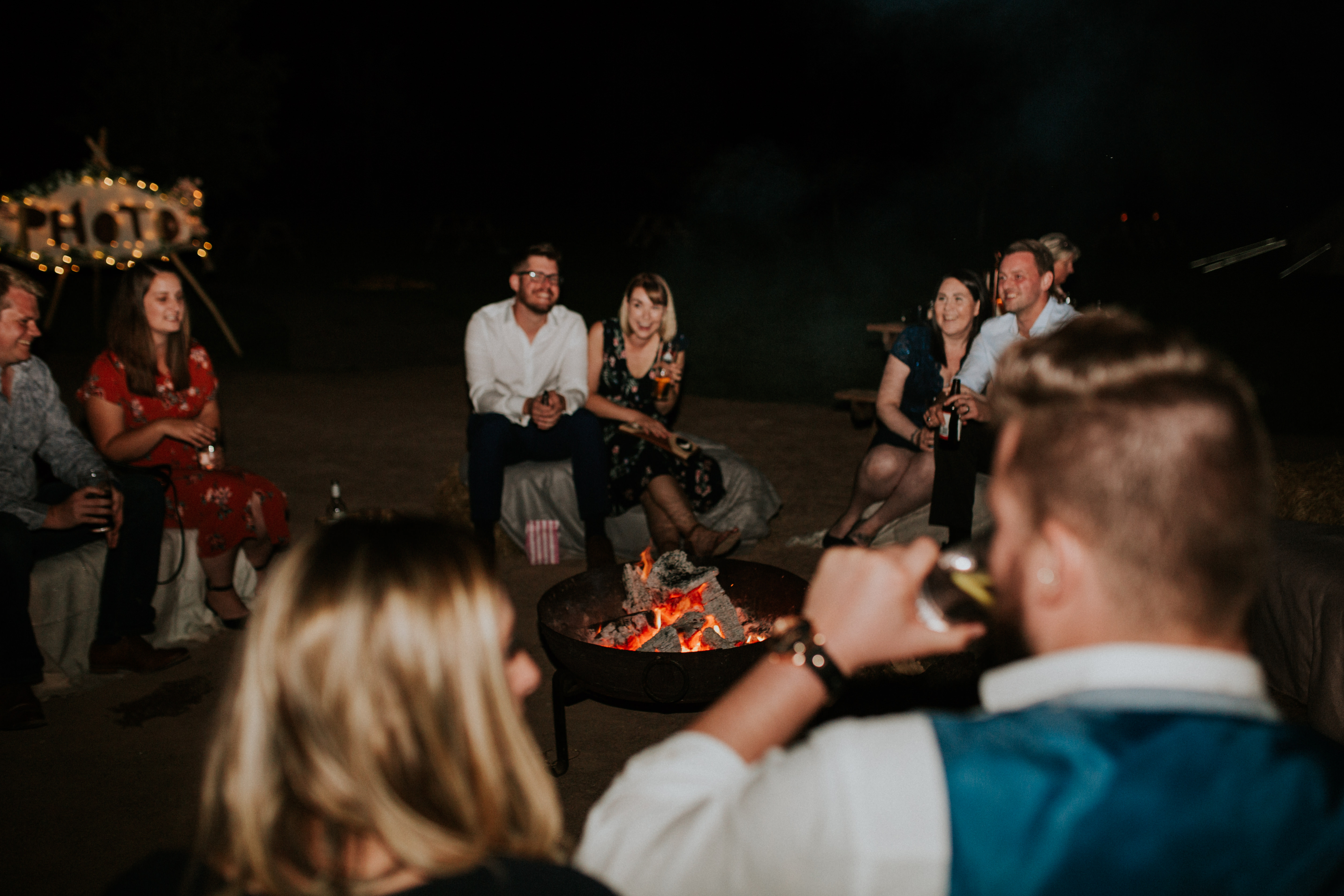 guests around the fire