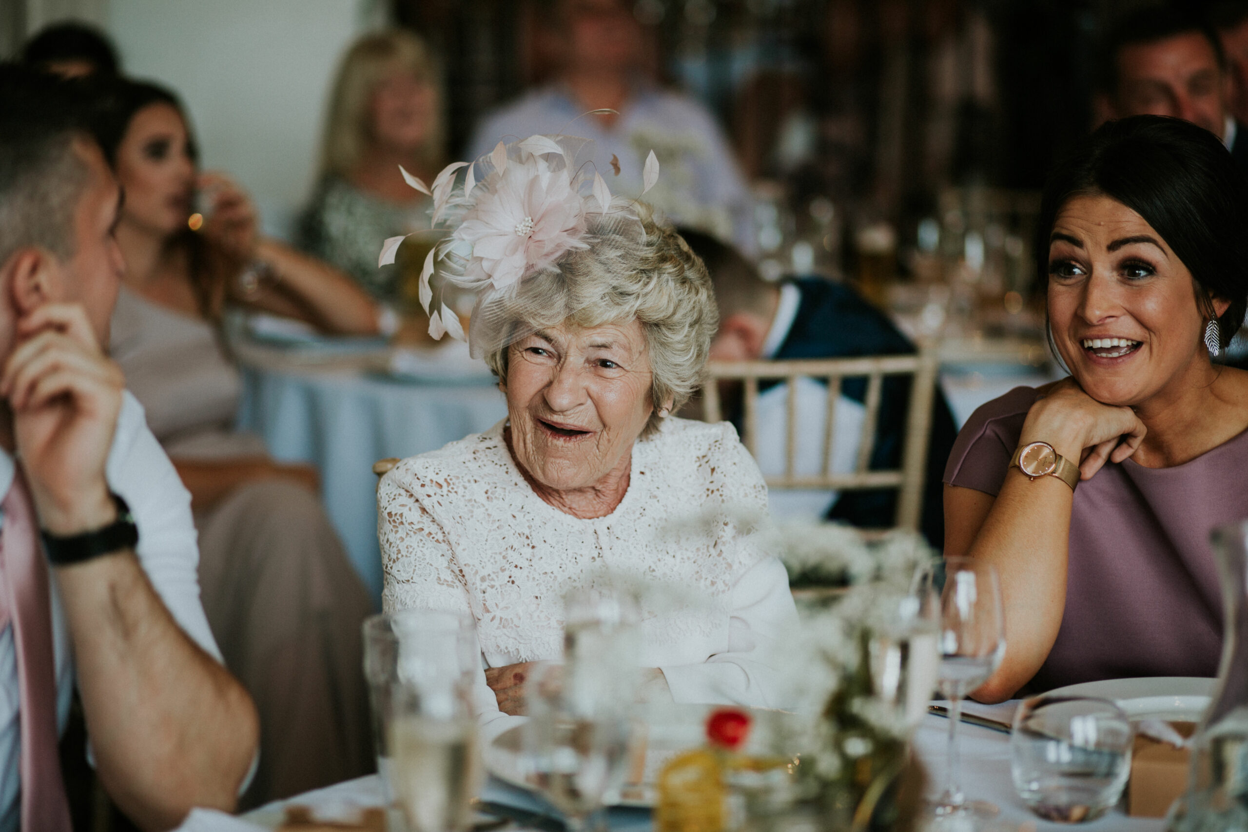brides nan laughing at the speeches