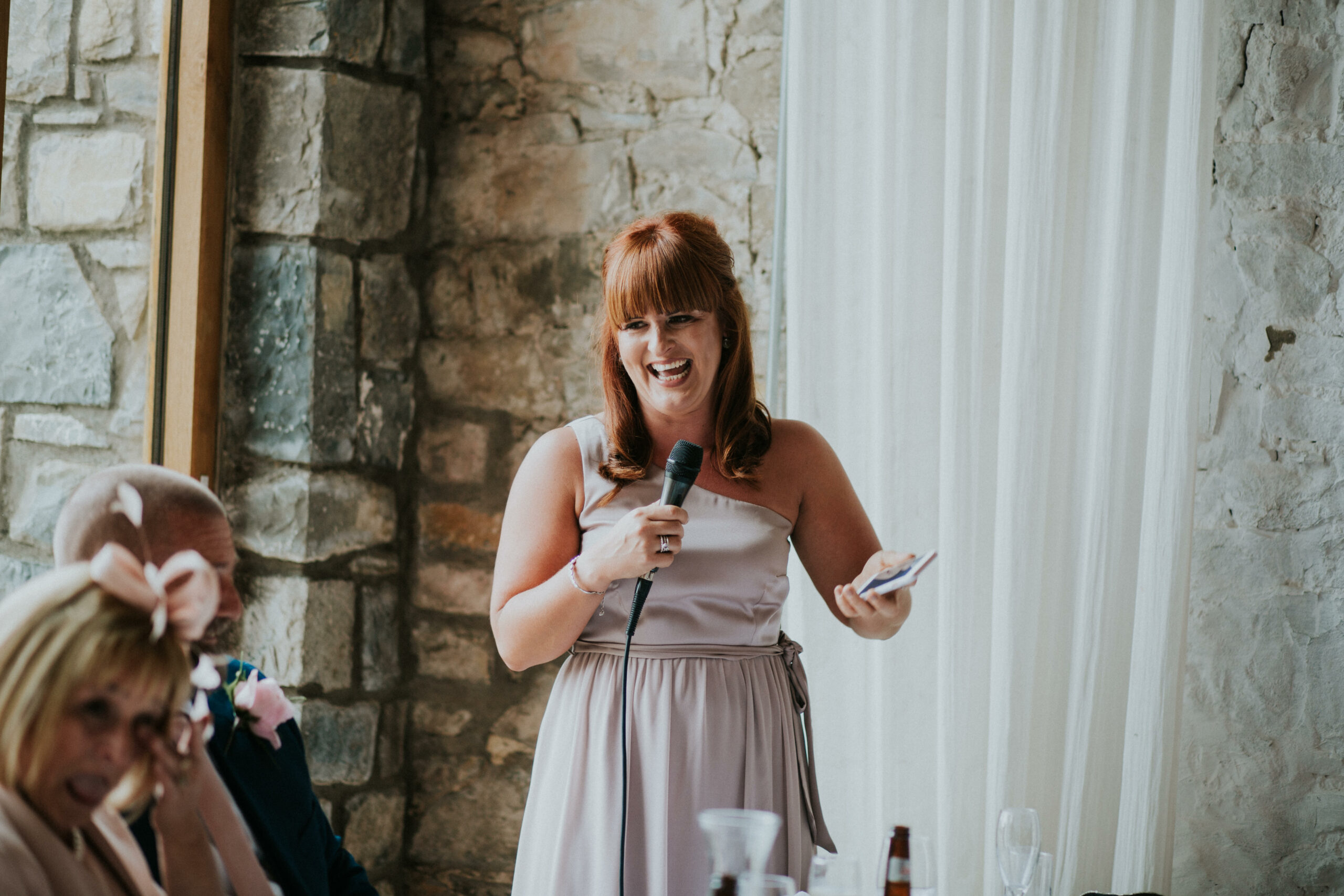 maid of honour giving her speech